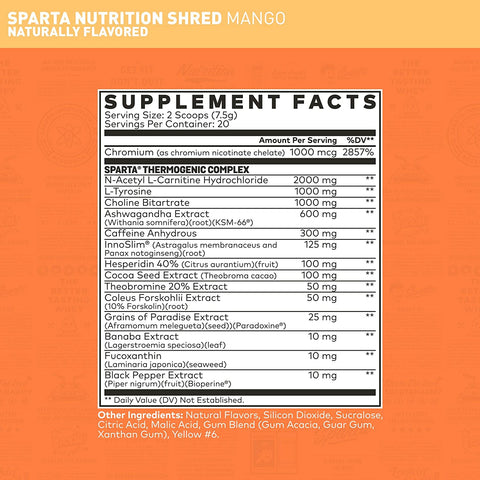 Sparta Nutrition Hydra Shred Powder Weight Loss Supplement