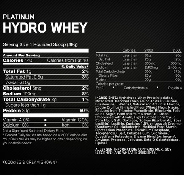 Optimum Nutrition Platinum Hydro Whey Supplement Facts