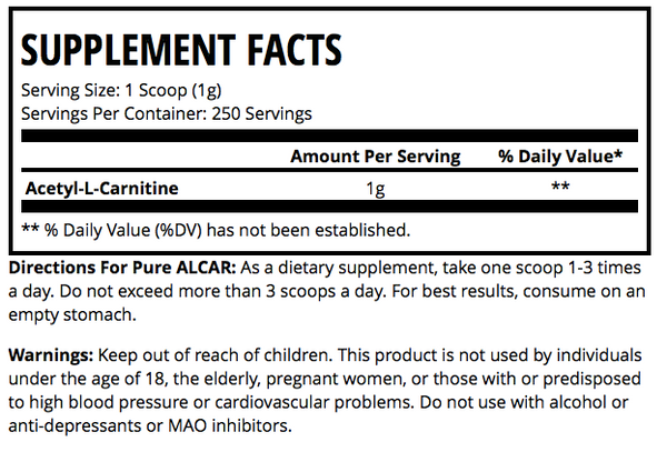 Pure ALCAR Nutrition Facts