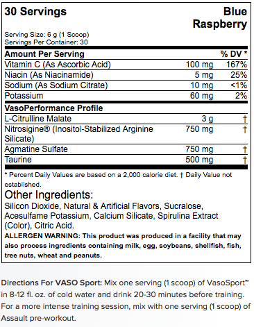 Musclepharm Vaso Sport Supplement Facts