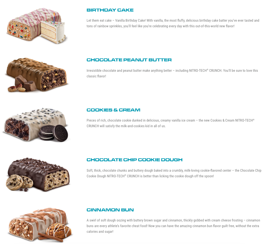 Nitro Tech Crunch Bar Flavors