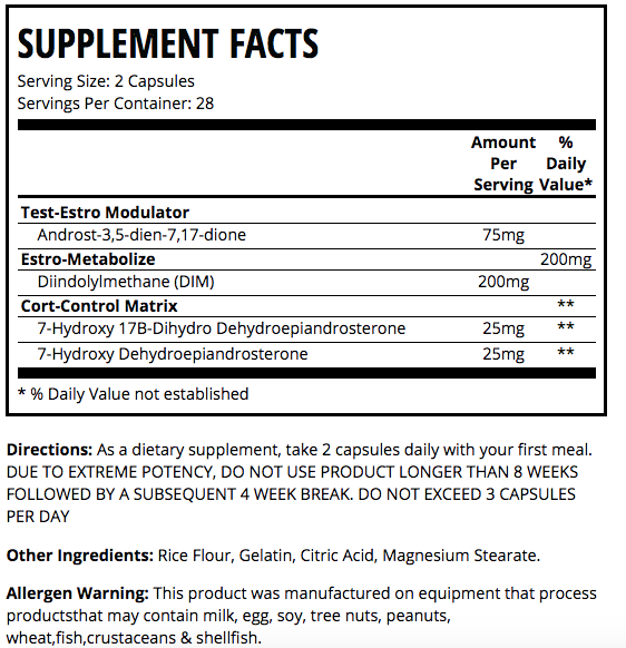 MAN Sports Nolvadren XT Supplement Facts
