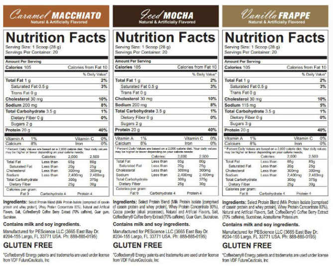 PEScience Cafe Series Select Protein Nutrition Facts