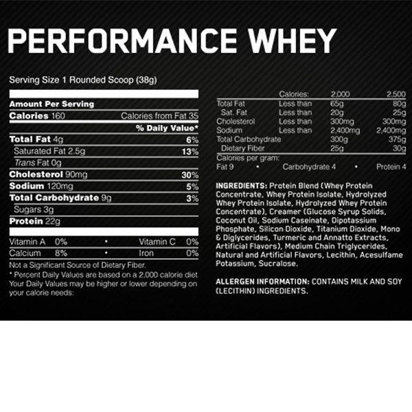 Optimum Nutrition Performance Whey Supplement Facts