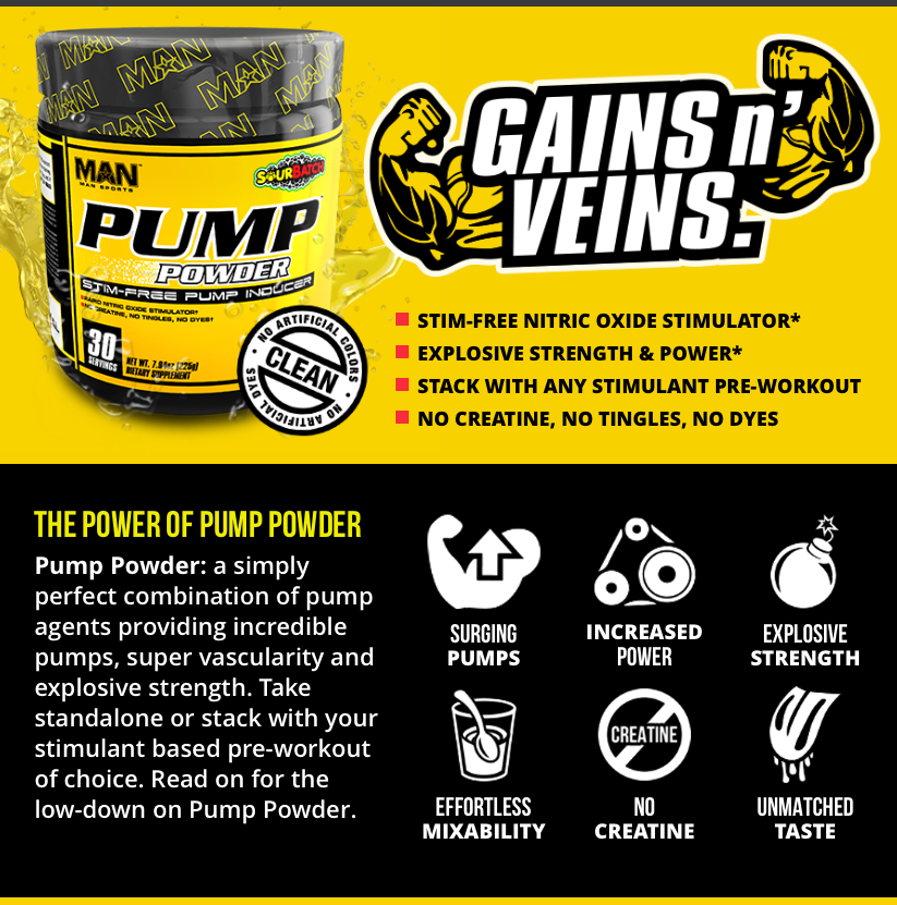 Man Sports Game Day Pump Powder