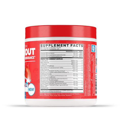 Sparta Nutrition Pre Workout Supplement Facts