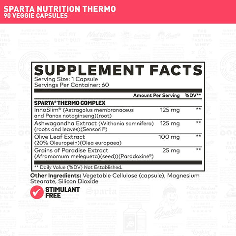Sparta Nutrition Thermo Weight Loss Supplement Stimulant Free