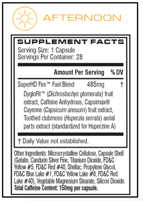 Super HD Fire Supplement Facts