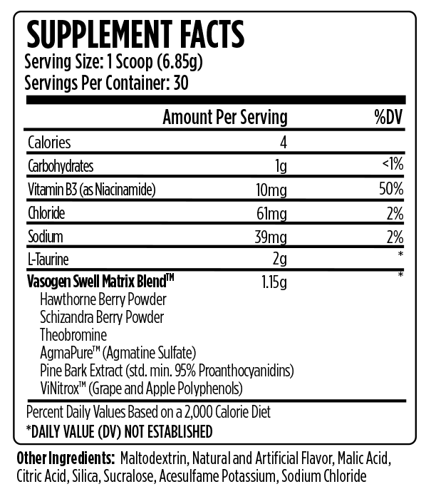 VMI Sports Vasogen XT Supplement Facts