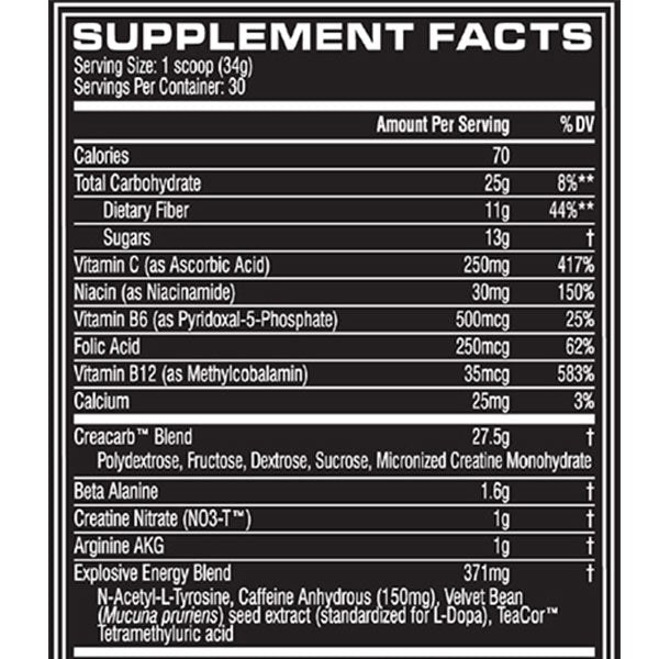 Cellucor C4 Mass Supplement Facts