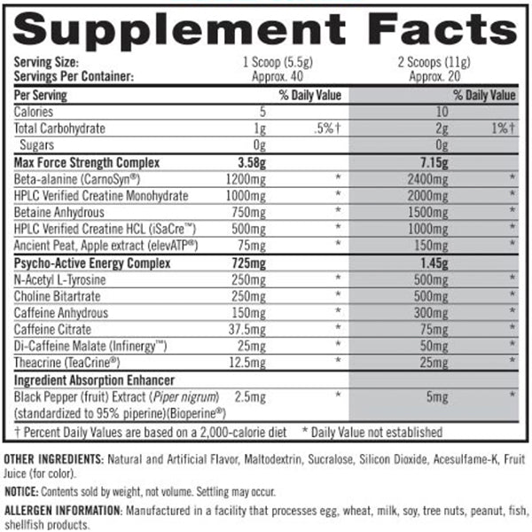 ISYMFS Pre Workout Supplement Facts