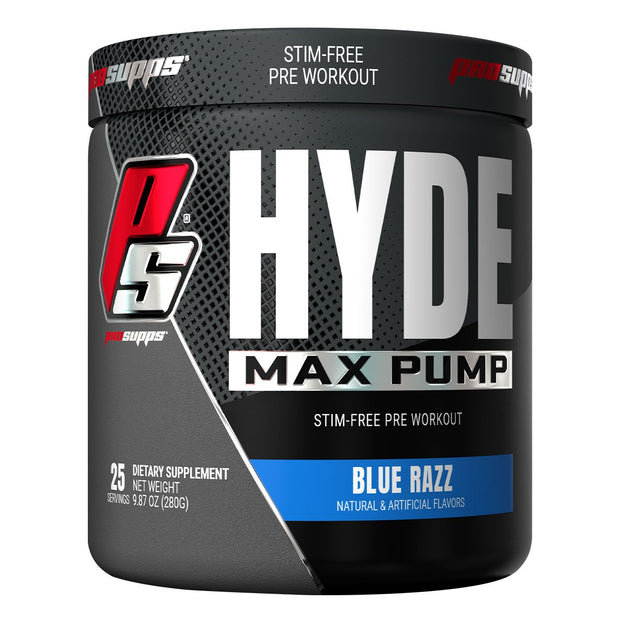 Pro Supps HYDE Max Pump Stimulant Free Pre Workout Powder Supplement Blue Razz