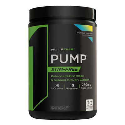 Rule One R1 PUMP Stim Free Pre Workout Blue Razz Lemonade