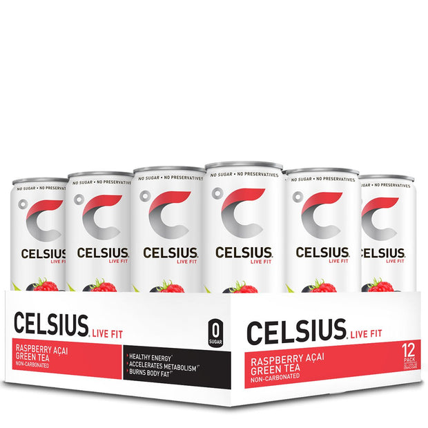 Celsius Energy Drink Sparkling Raspberry Acai Green Tea