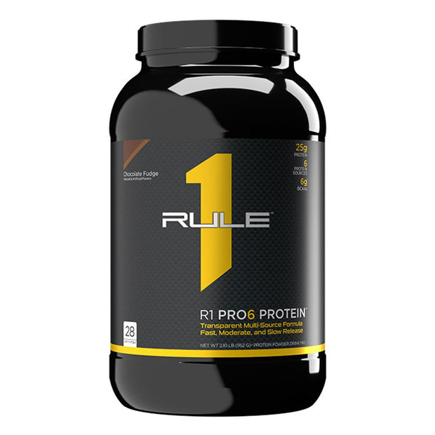 Rule One R1 Pro6 Protein Powder Supplement Chocolate Fudge