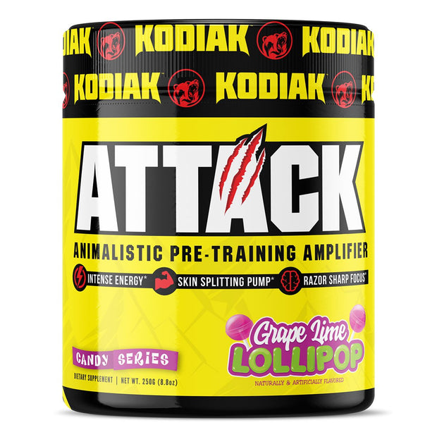 Kodiak Supplements Attack Pre Workout Grape Lime Lollipop