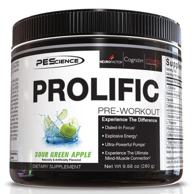 PEScience Prolific Pre Workout Sour Green Apple