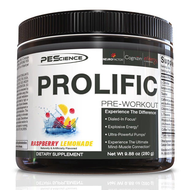 PEScience Prolific Pre Workout Raspberry Lemonade