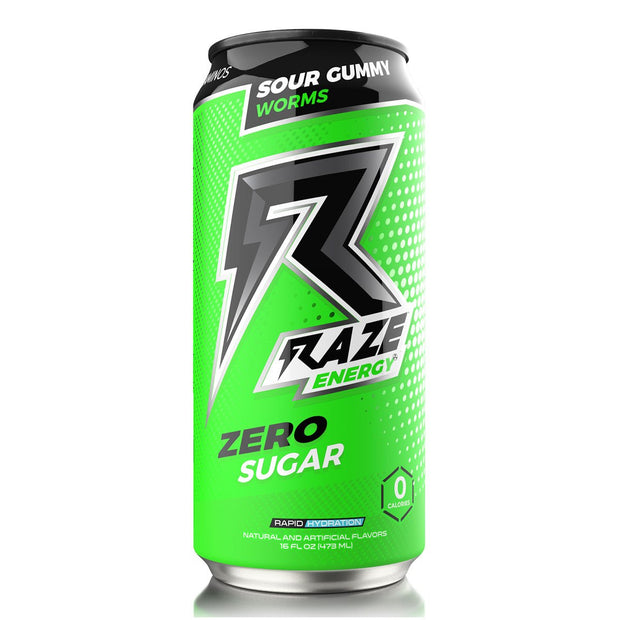 Raze Energy Drink Sour Gummy Worms