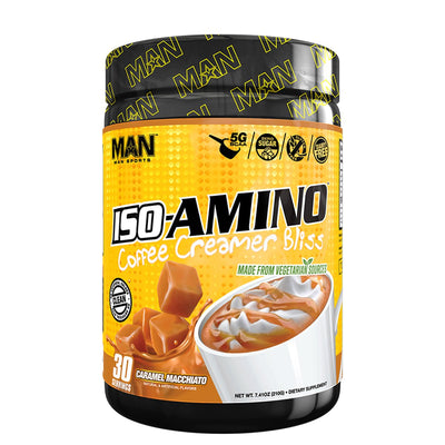 man sports ISO Amino coffee creamer bliss caramel macchiato