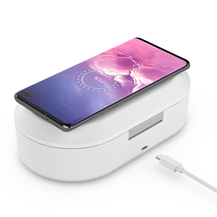 UVC light sanitizer box with wireless phone charger