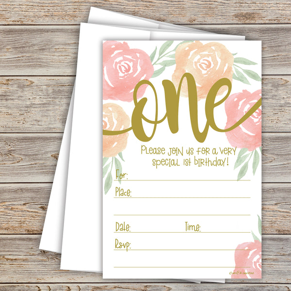 Watercolor Floral Girl 1st Birthday Invitations