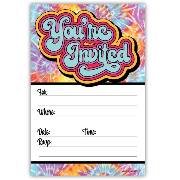 Retro 70s Tie Dye Party Invitations