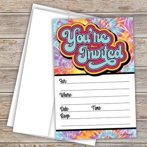 70s Tie Dye Party Invitations