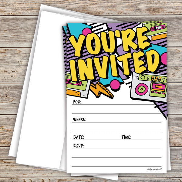 Retro 80s - 90s Hip Hop Invitations