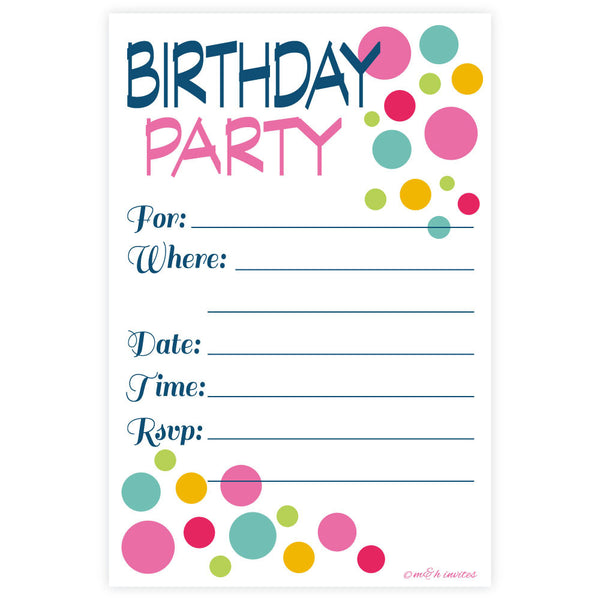 Colorful Modern Dots Birthday Invitations-Fill In Invitations-Madison and Hill