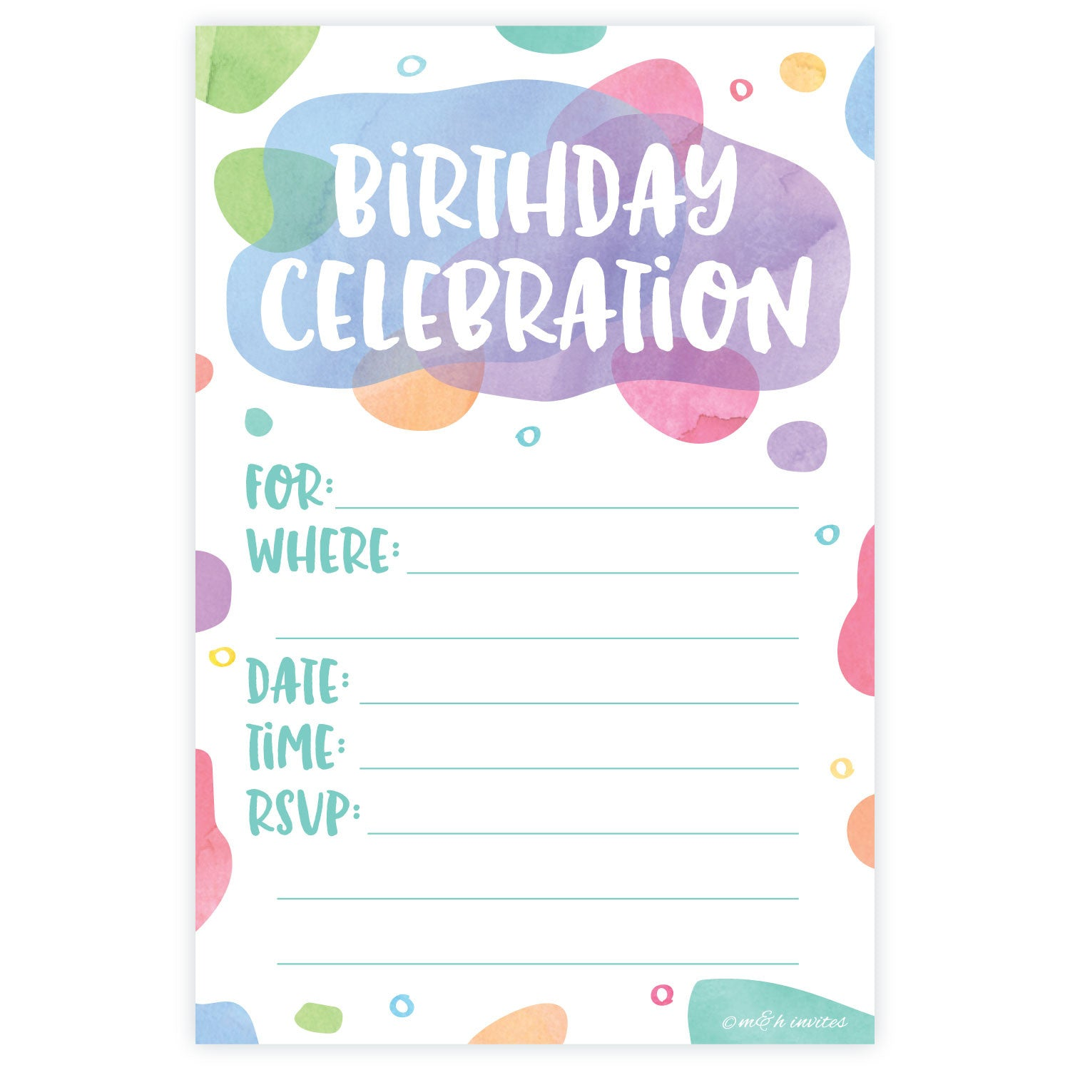 Girl Birthday Party Fill In Invitations | m&h invites | Madison and Hill