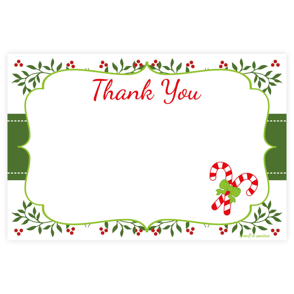 Holiday Candy Cane Thank You Note Cards