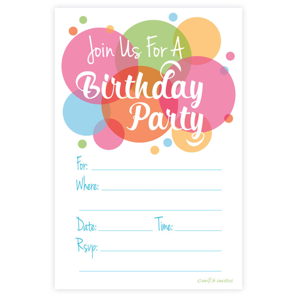 Bright Fun Birthday Invitations