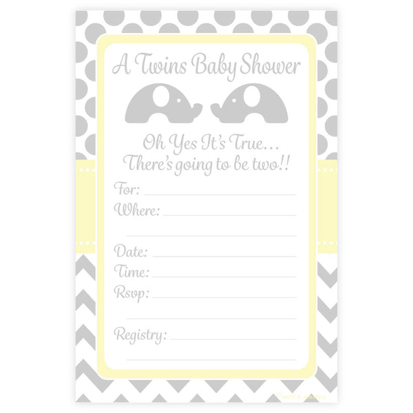 Elephant Twins Baby Shower Invitations-Fill In Invitations-Madison and Hill