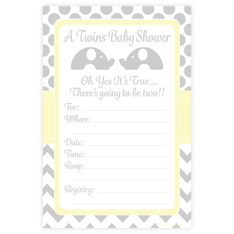 Elephant Twins Baby Shower Invitations