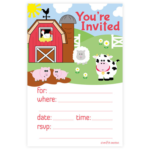 Farm Animals Birthday or Baby Shower Invitations