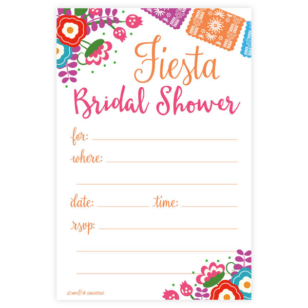 Fiesta Bridal Shower Invitations-Fill In Invitations-Madison and Hill