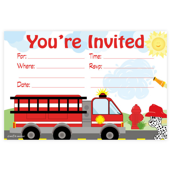 Fire Truck Birthday Invitations-Fill In Invitations-Madison and Hill