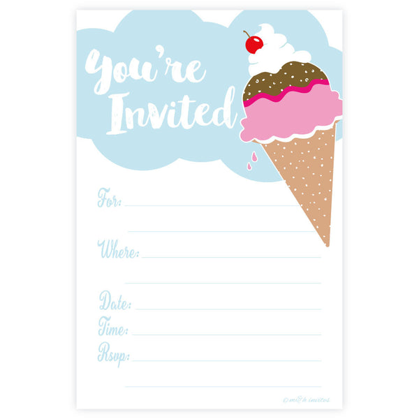 Ice Cream Party Invitations-Fill In Invitations-Madison and Hill