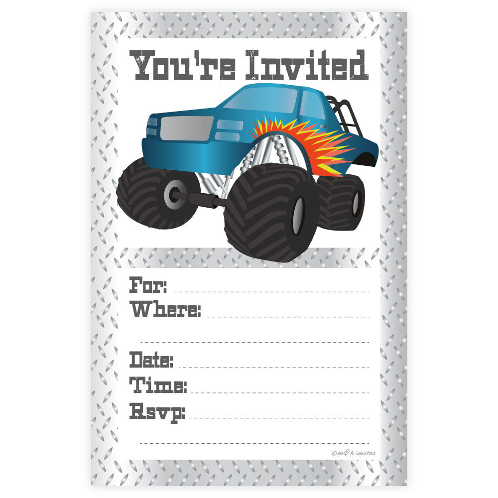 Monster Truck Birthday Invitations-Fill In Invitations-Madison and Hill