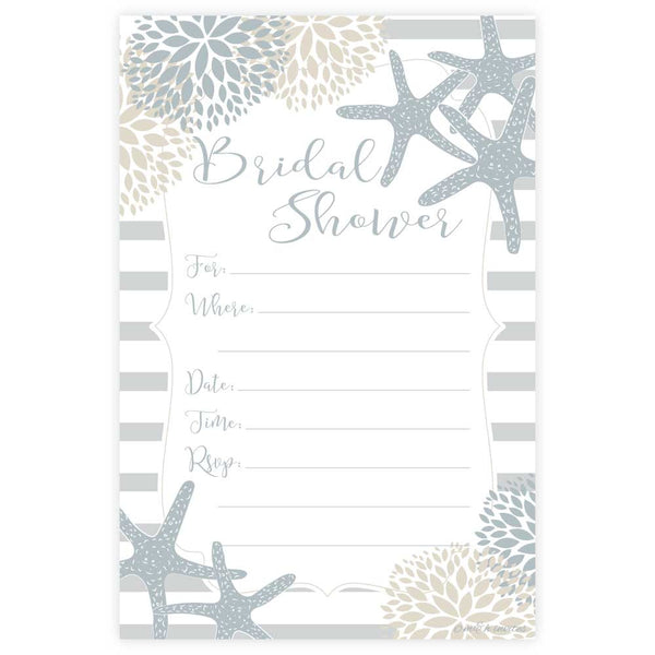 Nautical Starfish Bridal Shower Invitations-Fill In Invitations-Madison and Hill