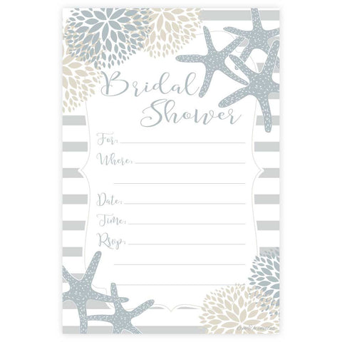 Nautical Starfish Bridal Shower Invitations