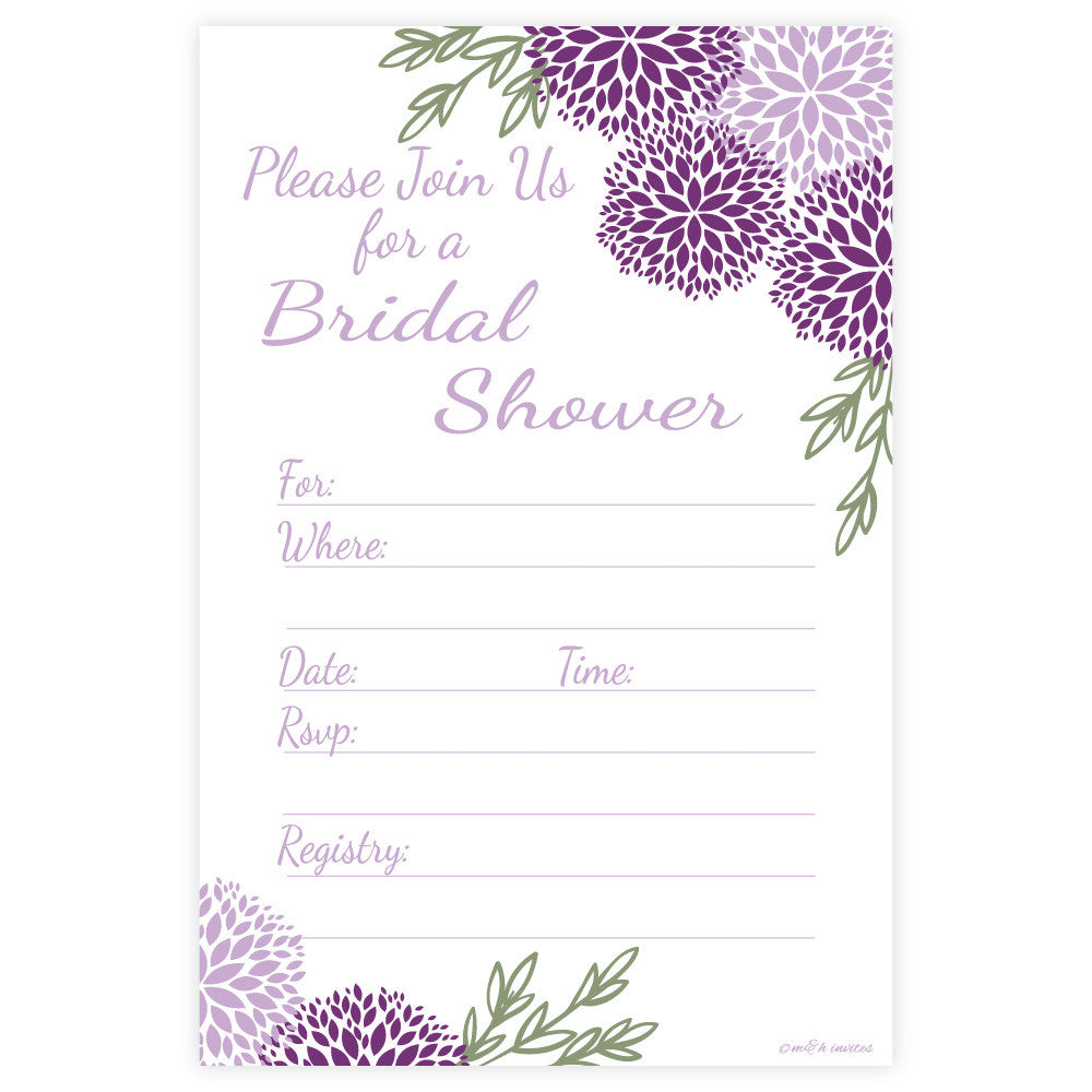 Purple Floral Bridal Shower Invitations-Fill In Invitations-Madison and Hill