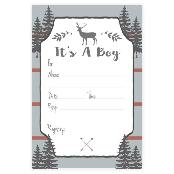 Rustic Deer Boy Baby Shower Invitations-Invitations-Madison and Hill