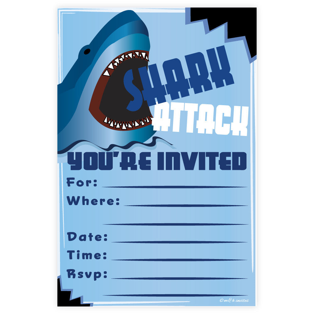 Shark Birthday Invitations-Fill In Invitations-Madison and Hill