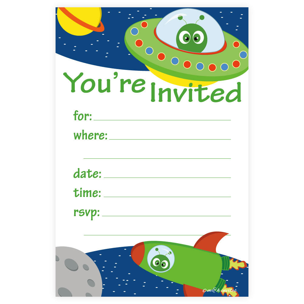 Space Birthday Party Invitations-Fill In Invitations-Madison and Hill