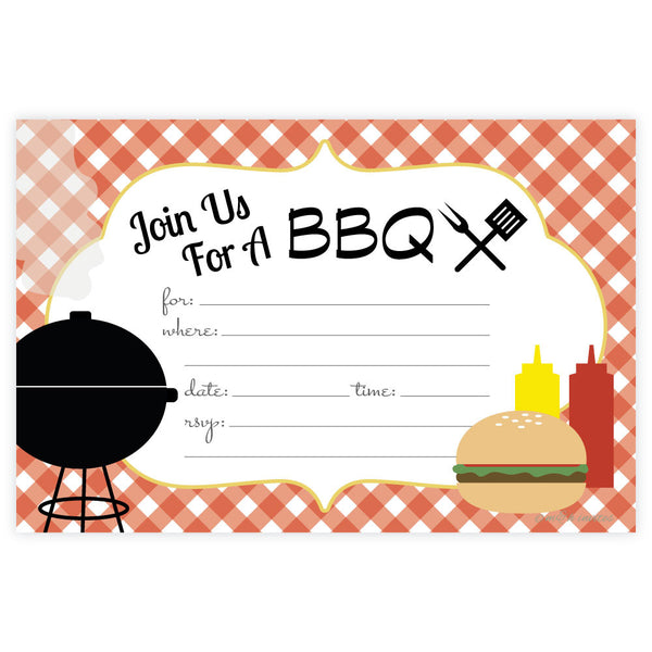 Summer BBQ Party Invitations-Fill In Invitations-Madison and Hill