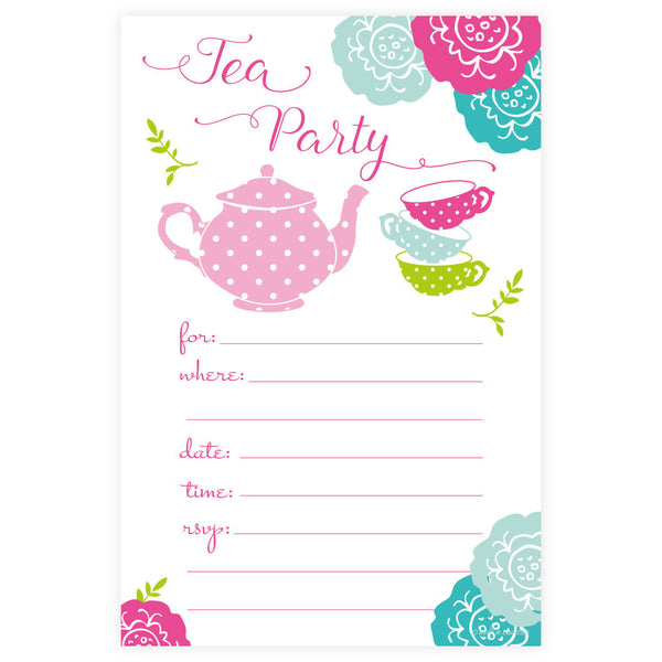 Colorful Tea Party Invitations-Fill In Invitations-Madison and Hill