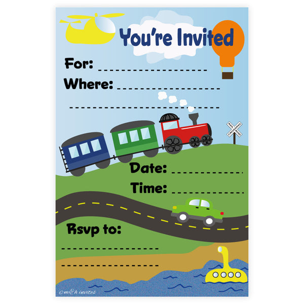 Invitations - Transportation Boy Birthday Invitations - Madison and Hill