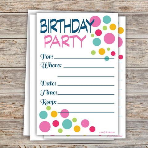 Colorful Modern Dots Birthday Invitations